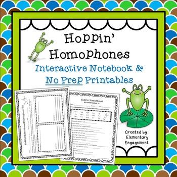 Homophones Interactive Notebook & No Prep Printables