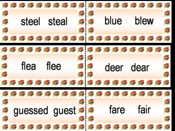 Homophones - Learn Vocabulary with theses cards MS Publisher file
