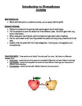 Homophones Lesson Activities & Materials - Figurative Language