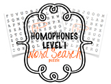 Homophones Level I Word Search Puzzle