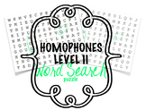 Homophones Level II Word Search Puzzle