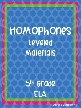 Homophones - Leveled Unit