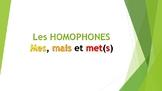 Cartes à tâche : Homophones Mais, MET(S) & MES