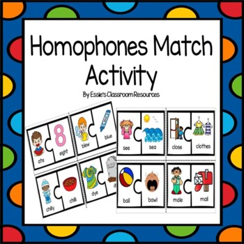 Homophones Match Activity