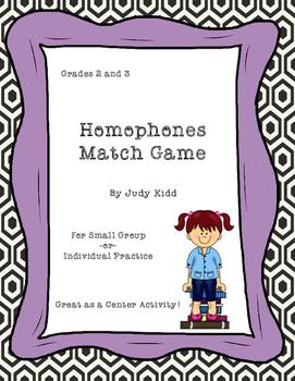 Homophones Match Game