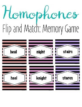 Homophones Match Game or Snap