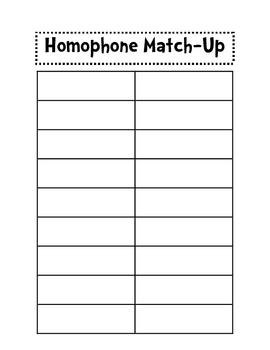 Homophones Match-Up