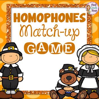 Homophones Matching Game Thanksgiving Theme