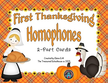 Homophones Matching Cards - Thanksgiving