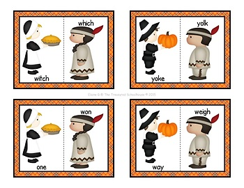 Thanksgiving Homophones Matching Cards