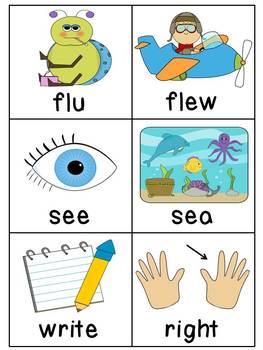 Homophones Word Matching Literacy Center