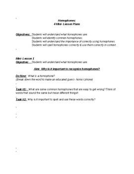 Homophones Mini-Lessons Unit - Customizable!