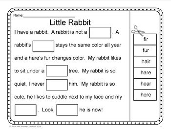 Homophones Cut and Paste Printables