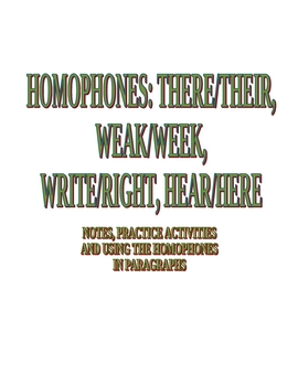 Homophones-Notes and Practice-there, weak, hear, write