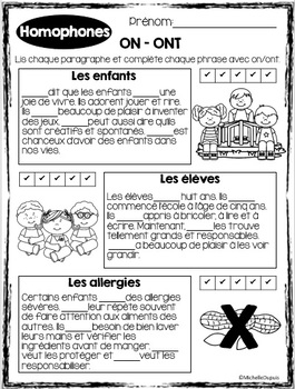 Homophones ON - ONT - French homophones