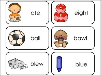 Homophones Picture Word Flash Cards.