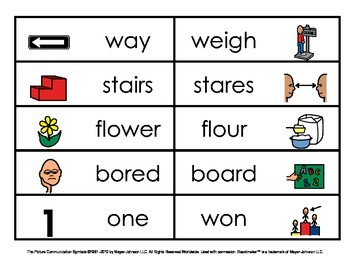 Homophones - Picture and Word Matches (Set 1)