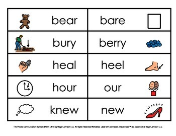 Homophones - Picture and Word Matches (Set 2)