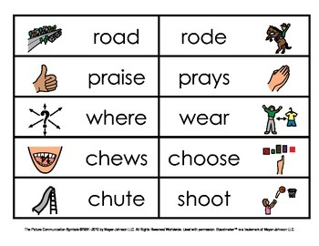 Homophones - Picture and Word Matches (Set 3)