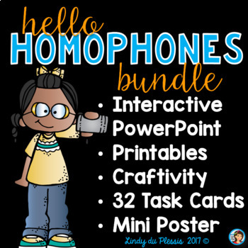 Homophones PowerPoint and Task Cards Bundle  for 2nd, 3rd, and 4th grade