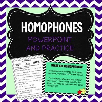 Homophones Powerpoint and Practice Activities