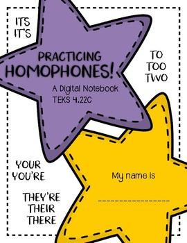 Homophones Practice - Digital Notebook