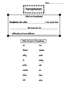 Homophones Practice Page
