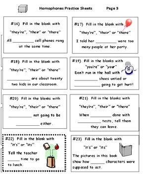 Homophones Practice Sheets (5 Worksheets)