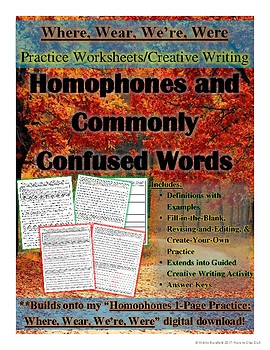 Where, Wear, We're, Were: 3-Page Autumn-Themed Practice and Creative Writing