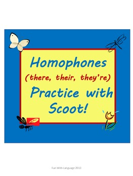 Homophones Practice with Scoot Game for There, Their, They're