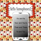 Homophones Presentation, Task Cards, Interactive Notebook