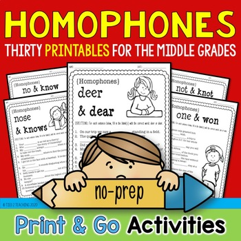 Homophones Print & Go Bundle (30 Printables for the Middle Grades)