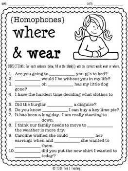 Homophones Print & Go Pack #2 (15 Printables for the Middle Grades)