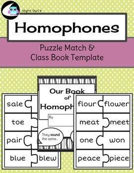 Homophones Puzzle Match and Class Book