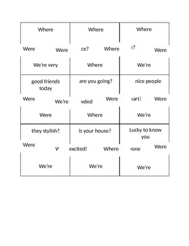 Homophones Puzzle (where,we're,were)