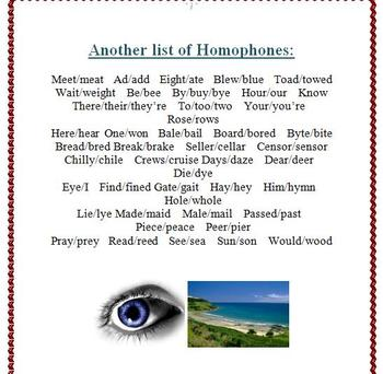 Homophones: Reference Lists and Activities for Elementary School