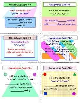 Homophones SCOOT Game (Cards, Grid and Lesson Plan Included)