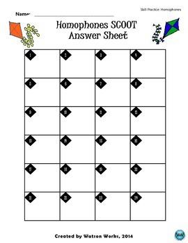 Homophones SCOOT Game/Task Cards