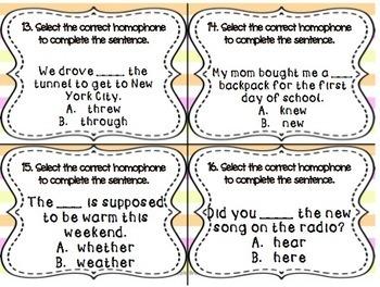 Homophones SCOOT! Game, Task Cards or Assessment
