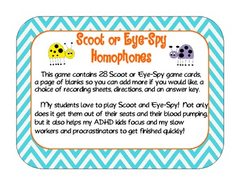 Homophones Scoot or Eye-Spy