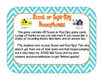 Homophones Scoot or Eye-Spy