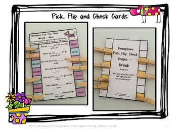 Homophones Activity: Homophones Clip Cards Set 2
