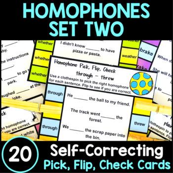Homophones Activity: Homophones Clip Cards Set 2