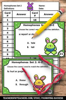 Homophones Task Cards Set 2, Word Work Activities, Vocabulary Review Games