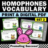 Homophones Task Cards Set 2, Word Work Activities, Vocabulary Games