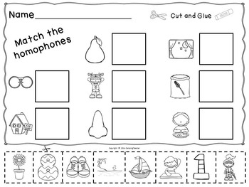Homophones Set Book to Create, Posters, Matching Cards