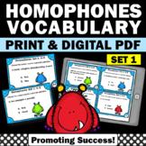 Homophones Task Cards Set 2, Speech Therapy Vocabulary, ESL Activities