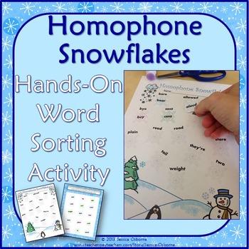 Homophones: Snowflakes Word Sort