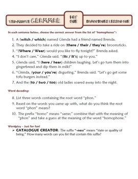 Homophones Spelling Lesson One: Ten-Minute Grammar Unit #2