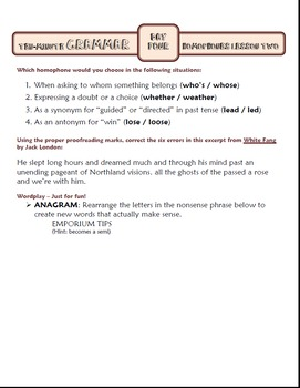 Homophones Spelling Lesson Two: Ten-Minute Grammar Unit #8